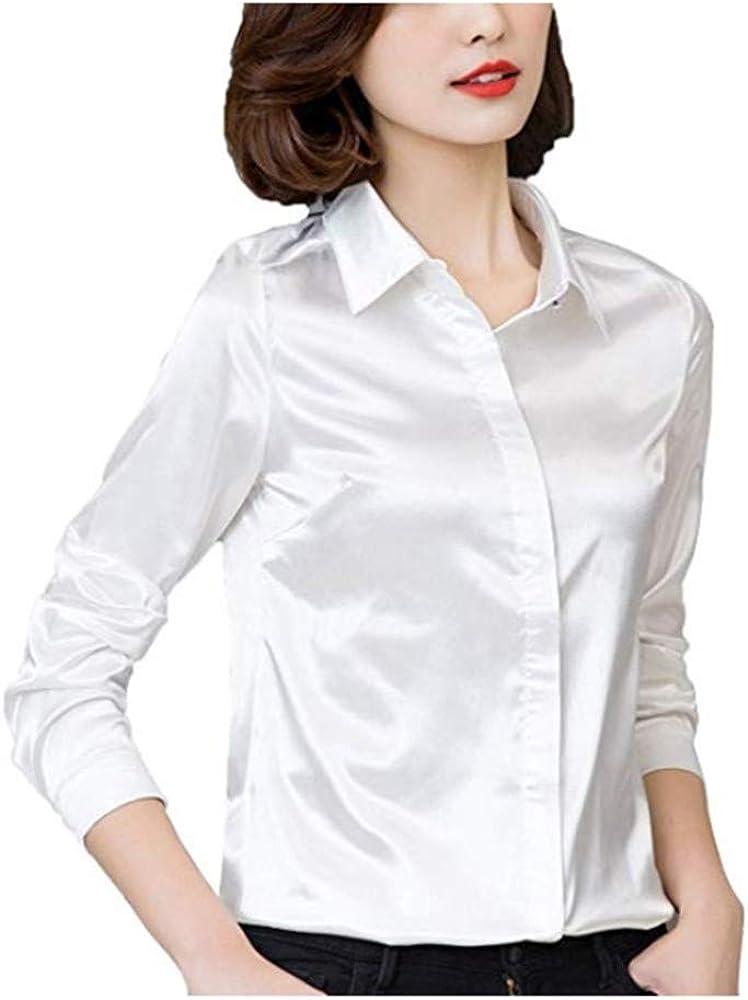 Women Satin Silk Long Sleeve Button-Down Shirt Formal Work Silky Blouse Top