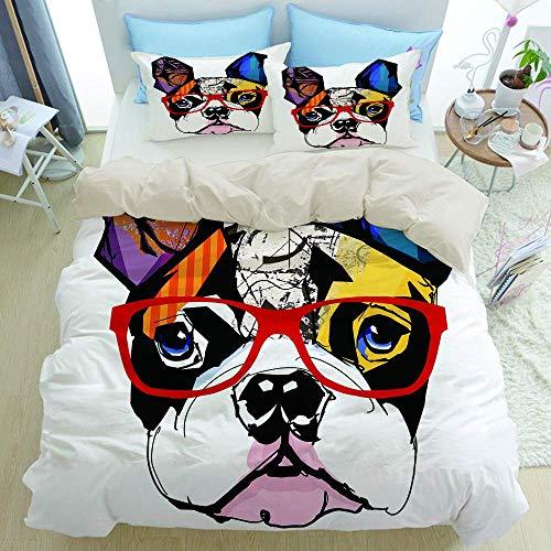 Juego de ropa de cama de 3 piezas, retrato de bulldog francés con gafas de hipster, orejas y ojos coloridos y abstractos, juego de funda nórdica moderna con 2 fundas de almohada Juego de funda de edre