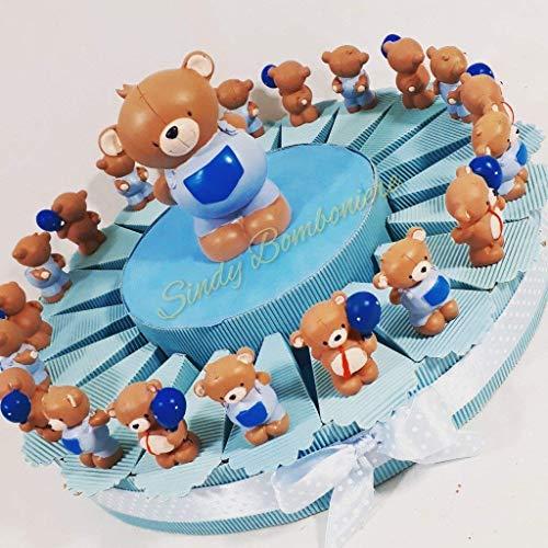 Sindy Party Favours Cake Favours Teddy Beer Verschillende fotolijst Baby Verjaardag doop, Crème, Lichtblauw, 4.5