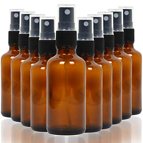Youngever 10 Pack Empty Amber Glass Spray Bottles, 4 Ounce Refillable Container for Essential Oils, Cleaning Products, or Aromatherapy