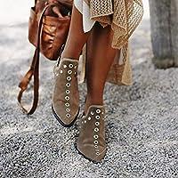 女性のアンクルブーツレトロリベットブーツ女性のための秋冬の先のとがったつま先の靴女性のローヒールの靴,カーキ,39