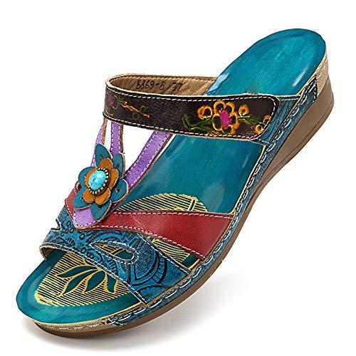 Asseny - Sandali da donna alla moda, stile etnico, con fiori, zeppe, infradito, 38