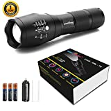 amiciVision Metal LED Torch Flashlight, XML T6 Water Resistance 5Modes Adjustable Focus with 3 AAA Duracell Battery (Emergency Light, Black) (LED Torch)