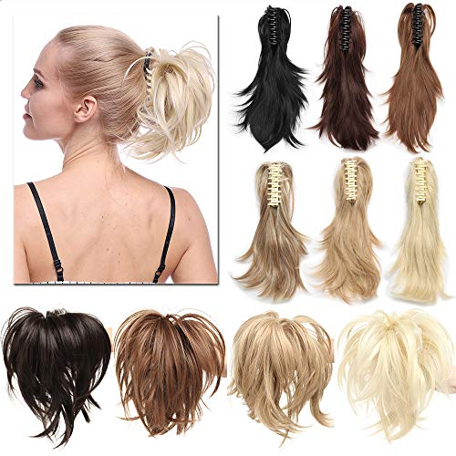 TESS Ponytail Haarteil Pferdeschwanz Extensions DIY Haarverlängerung Clip in Synthetik Haare für Zopf Haarteil Hair Extensions 12