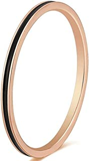 2mm Stainless Steel Black White Enamel Filled Wedding Band Stackable Ring