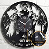 Gym Vinyl Clock - Gym Wall Decor - Gym Gift Idea - Gym Wall Clock - Powerlifter Crossfit Home Room Bodybuilder Gym Gifts For Men Gift Set Garage Gym Lover Theme Bodybuilding Wall Decor Art Clock Black