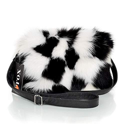 FOX FASHION Damen Umhängetasche mit Reißverschluss aus weiß-schwarz Fuchsfell Pelztasche Handtasche Fuchs Fell Pelz schwarz Fuchspelz Tasche Echtfell Felltasche Echt
