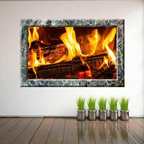 Wandtattoo Poster Tapeten Fireplace Decorative Wall Art Stickers with 3D Marble Effect Home Decor-50x70cm