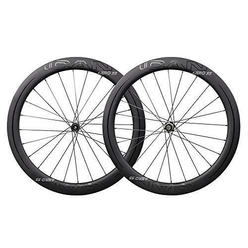 ICANIAN - Rueda de carbono con neumático Aero 55 disco de bicicleta de carretera con ruedas de 55 mm, freno de disco 12 x 100 / 12 x 142 mm, solo 1468 g