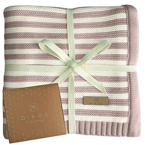 Babydecke aus * 100% * GOTS BIO Baumwolle rosa/weiß für Mädchen Strickdecke Baby Decke Baumwolldecke Strick Wolle Kinderwagen Kuscheldecke Erstlingsdecke Wolldecke Geschenk Geburt kuschelig