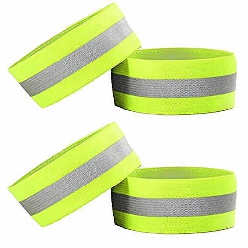 4 pulseras reflectantes de alta visibilidad; tobilleras, bra