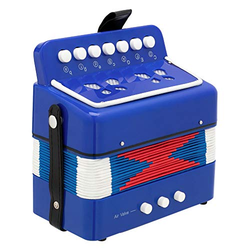 BESP Accordion Mini 7 Keys Accordion Toy for Kids ABS Material Musical Instrument Toy for Children Kids Toddlers Gift (Blue)