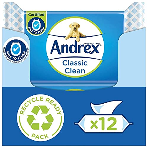 Andrex Washlets Classic Clean Toilet Tissue Wet Wipes with Micellar Water (Flushable Tissue Wipes), 12 Packs (480 Tissues)