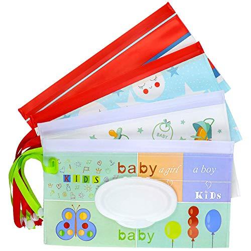 Meetory, 4 sacchetti riutilizzabili per salviettine umidificate, da viaggio, per salviette, erogatore di salviette, ecologici, per bambini