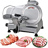 HomGarden 10' Meat Slicer Semi-Auto Stainless Steel Cutter Cheese Food Electric Blade Kitchen Deli/Veggies for Commercial & Home