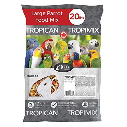 Tropimix Large Parrot Food Mix, Premium Blend of human-Grade Grains, Legumes, Nuts, Fruits & Vegetables, 20 lb Bag