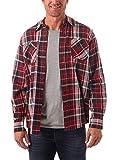 Wrangler Authentics Men's Long Sleeve Flannel Shirt, Biking Red, X-Large Tall