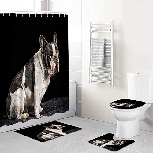 LONSANT Cortina De Ducha Conjunto con Antideslizante De La Manta,Bulldog Animal lindo Francia Bulldog blanco y negro sobre fondo negro Cachorro gracioso Mascota,Aseo Cubierta De La Tapa Estera De Baño