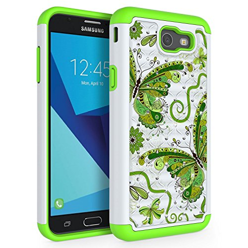 SYONER Case for Samsung Galaxy J7 V 2017 (1st Gen)/ Galaxy J7 2017 / Galaxy J7 Prime/Galaxy J7 Perx/Galaxy J7 Sky Pro/Galaxy Halo, [Rhinestone Bling] Defender Phone Case Cover [Butterfly]