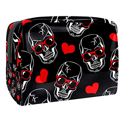 Grand sac de maquillage en PVC pour les cosmétiques de voyage et les crânes de porter des lunettes de soleil rouges avec motif de cœurs Multicolore Couleur 1 18.5x7.5x13cm/7.3x3x5.1in