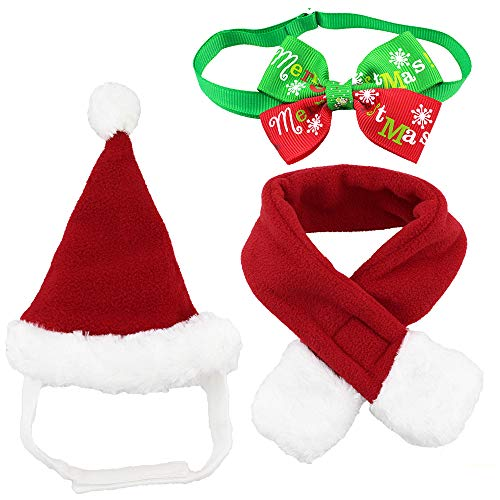 Wiz BBQT Dog Cat Pet Santa Hat Scarf and Collar Bow Tie Christmas Costume for Puppy Kitten Small Cats Dogs Pets
