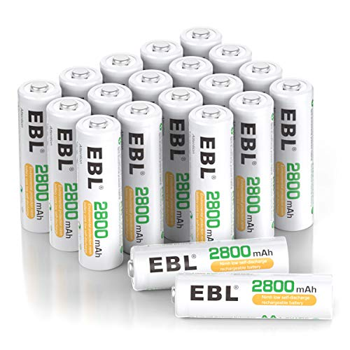 EBL 20-Counts AA Rechargeable Batteries 2,800mAh High Capacity AA Batteries