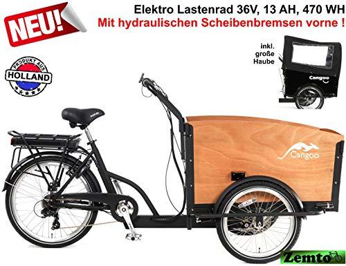 Plezier E Elektro-Transportfahrrad/lastenrad 7 Gang schwarz-braun mit hydraulischen Scheibenbremsen vorne*