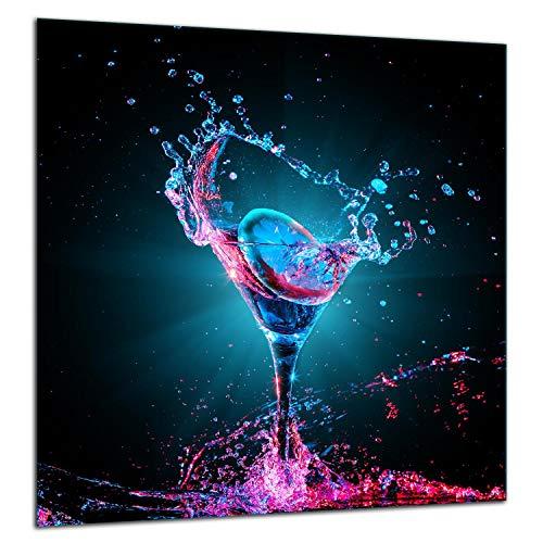 TMK | Küchenrückwand Spritzschutz aus gehärtetem Glas 60x65 cm - Dekoglas mit selbstklebendem Klebeband - Glasrückwand Küche, Wasser