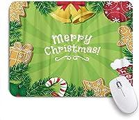 マウスパッド 個性的 おしゃれ 柔軟 かわいい ゴム製裏面 ゲーミングマウスパッド PC ノートパソコン オフィス用 デスクマット 滑り止め 耐久性が良い おもしろいパターン (クリスマスのジンジャーブレッドクッキーベルキャンデー杖デザインクリスマス装飾要素)