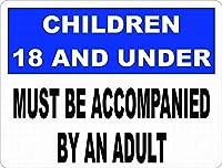 2個 未成年者は、大人のノスタルジックな広告ウォールサイン8X12インチを伴う必要があります