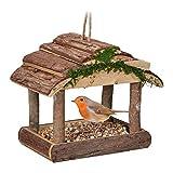 Relaxdays Comedero para pájaros de Madera, para Colgar, 19 x 22 x 16,5 cm, para jardín, comedero para pájaros pequeños, Color Natural