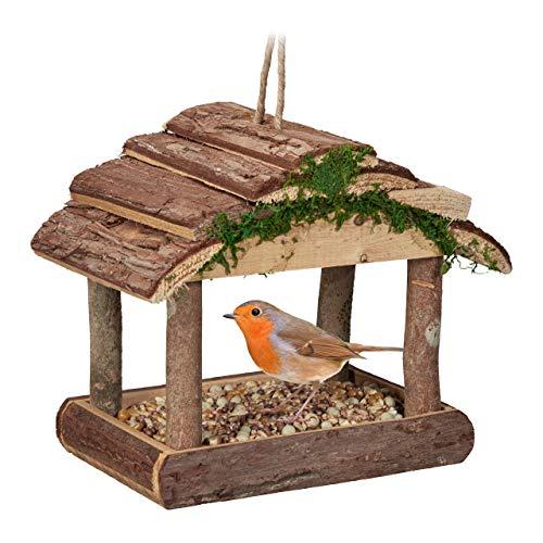Relaxdays Mangiatoie per Uccelli, Casette in Legno Dispenser di Mangime da Esterno, Decorazione da Giardino, Marrone