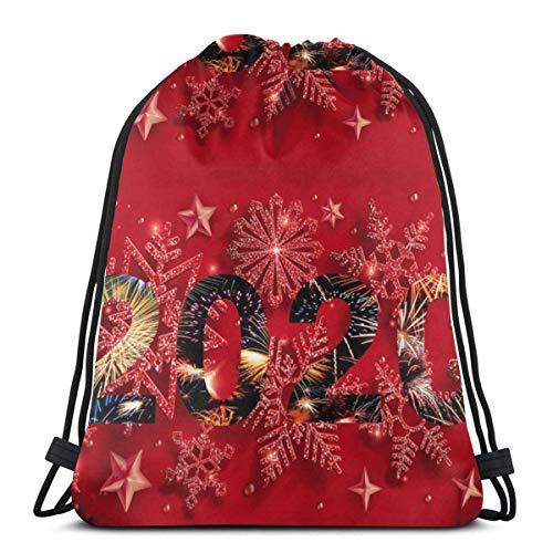 LREFON Mochila con cordón para gimnasio, mochila de Año Nuevo 2020, mochila para almacenamiento de viaje, organizador de zapatos, botella de agua de baloncesto para adultos