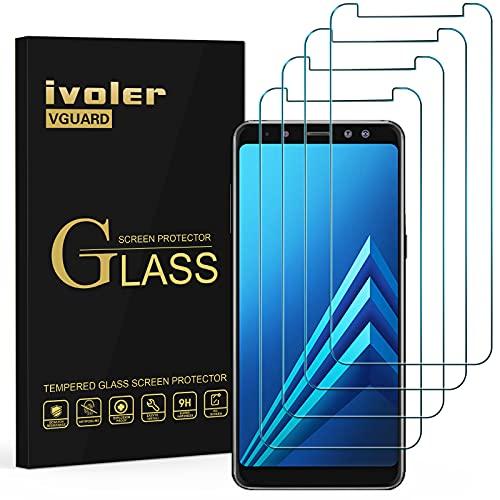 ivoler [4 Stücke] Panzerglas Schutzfolie Kompatibel für Samsung Galaxy A8 2018, 9H Festigkeit, Anti- Kratzer, Bläschenfrei, [2.5D R&e Kante]