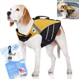 SeaDog Pro Dog Life Jacket (M) with Clip-On Water Activated LED Safety Strobe - Quick Release Doggy Life Preserver Adjustable Pet Life Vest. Tough Hi-Vis Nylon - Reflective Trim, Strong Grab Handle -Best Dog Flotation Vest on Amazon