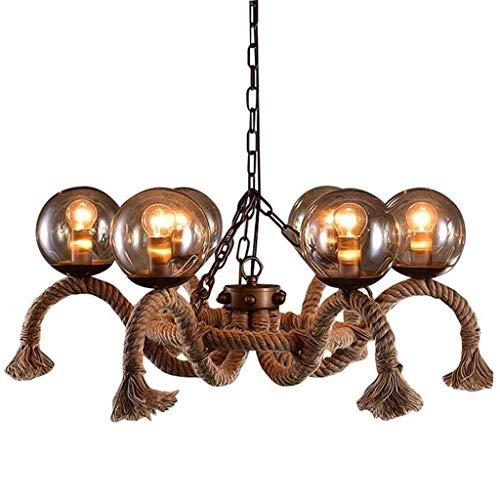 YUQIYU Lámparas pendientes de cuerda del cáñamo de la lámpara, retro iluminación LED Edison cuerda de la lámpara y la haba mágica bola del globo pantalla de cristal