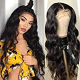 Giannay Loose Curly Lace Front Wigs Long Synthetic Wigs for Black Women Natural Wave Lace Wig with Baby Hair Pre Plucked Hairline Heat Resistant Fiber Hair 24 Inch