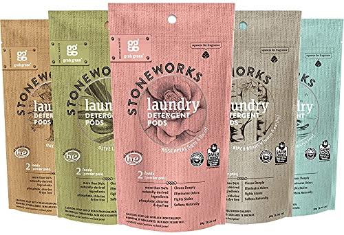 Grab Green Stoneworks Natural Laundry Detergent Pods 5 Piece Mini Sample Kit
