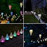 Quace Color Changing Garden Lights 7 Colors and 3 Lighting Modes Solar Outdoor Decoration Lights Hang/Stick - Set of 3