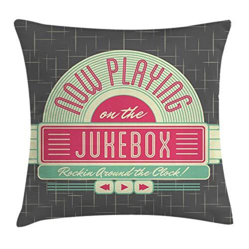 ABAKUHAUS Jukebox Sierkussensloop, Retro jaren '50 Music Box, Decoratieve Vierkante Hoes voor Accent Kussen, 50 cm x 50 cm, Mint Green Hot Pink