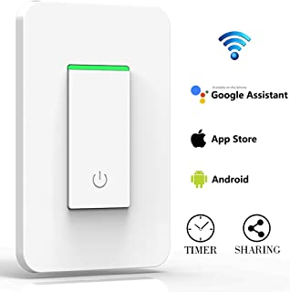 Smart Light Switch, WiFi Light Wireless Switch Remote Control Timing Function No Hub Required, Compatible with APP, Google Home Assistant & Echo Dot Alexa