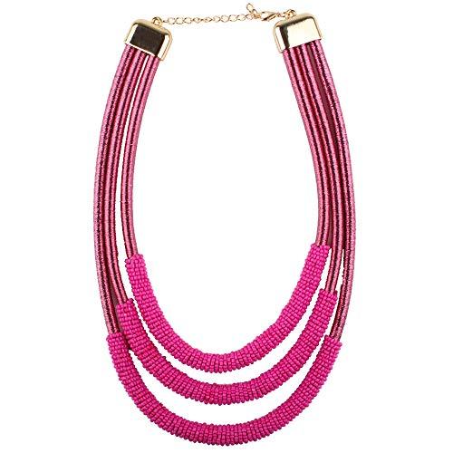 Claire Jin Tres Capas Hecho A Mano Sinuoso Pequeñas Perlas Gargantilla Collar Bohemio Corto Collares de Las Mujeres Manual de Moda Collar de Trenzado Joyería Étnica 13 Colores
