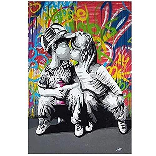 Odtis Cuadro moderno de graffiti Street Art Abstracto Boy Kiss Girl Canvas Painting Poster and Prints Banksy Pop Wall Art para sala de estar. 30 x 45 cm NoFramed