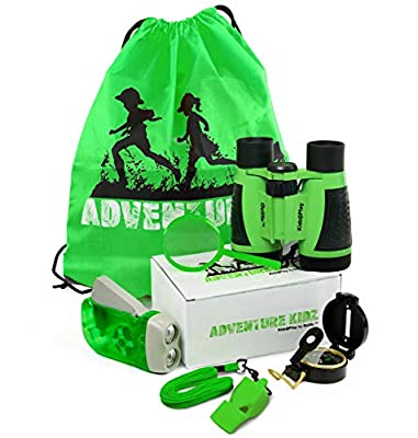 Adventure Kidz - Outdoor Exploration Kit, Children's Toy Binoculars, Flashlight, Compass, Fox Whistle, Magnifying Glass, Backpack. Great Kids Gift Set for Camping, Hiking, Educational, Pretend Play. by Ozlife