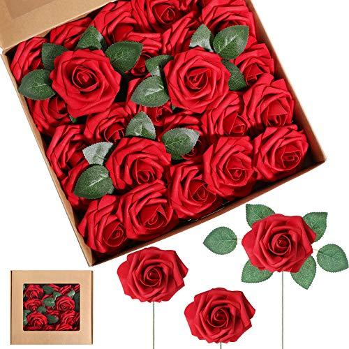 Flores de Rosa de Espuma Artificiales Rosas Falsas Vintage DIY Ramos Flor en Ojal con Hojas y Tallos para Decoración de Bodas Despedidas de Soltera (Rojo Vino, 25 Piezas)