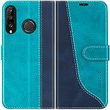 Mulbess Handyhülle für Huawei P30 Lite Hülle Leder, Huawei P30 Lite Handy Hülle, Modisch Flip Handytasche Schutzhülle für Huawei P30 Lite New Edition Hülle, Mint Blau