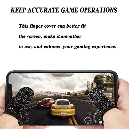 ACKLLR 8 Pack Mobile Game Controller Finger Sleeve, Anti-Sweat Breathable Touch Screen Sensitive Shoot Aim Keys Finger Set Compatible with PUBG Mobile, Rules of Survival, Android iOS Joysticks Tablet