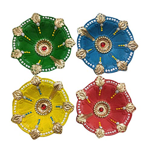 WhopperIndia (Set von 4 handgefertigten indischen traditionellen Pooja Earthen Clay/Terrakotta Öl Lampe - Diya Lampe