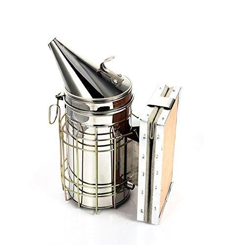 Imker Bienen smoker Imkereibedarf Rauchgerät aus Edelstahl und Leder mit Schutzgitter für Imkereiarbeit