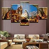 DGFHW Moderno Cuadro En Lienzo 5 Piezas Nacimiento De Christian Jesus Farm Cuadros Modernos Impresión De Imagen Artística Digitalizadadecoración De Pared Decorar 150X80Cm(con Marco)